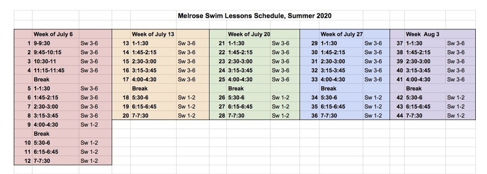 Swim Lessons Schedule 2020