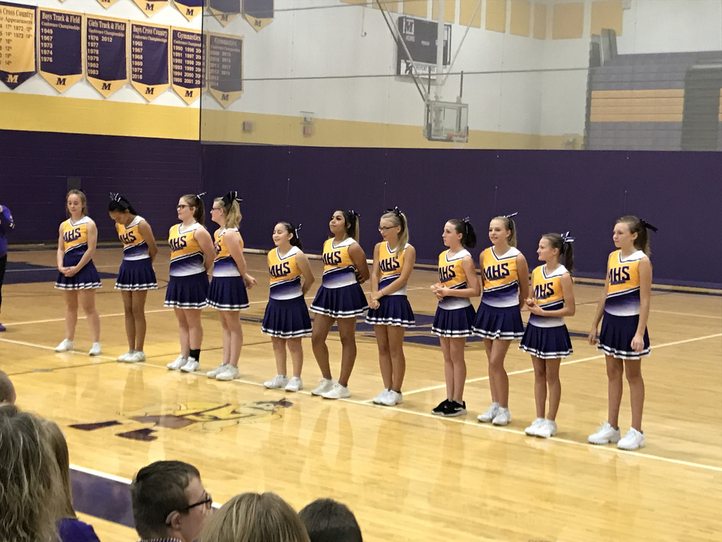 Dutchmen cheer leaders at the homecoming pep fest.