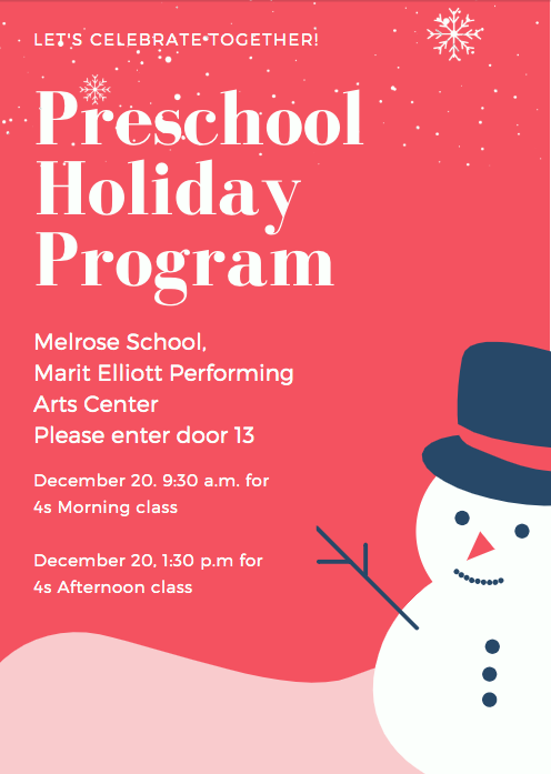 PreK Holiday program